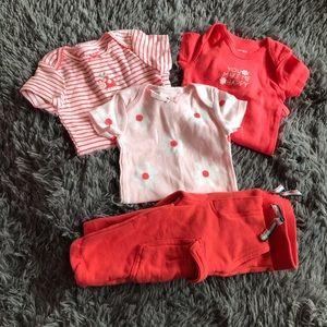 2/$15 CARTER'S 4 pc outfit set -3 onesie + pants